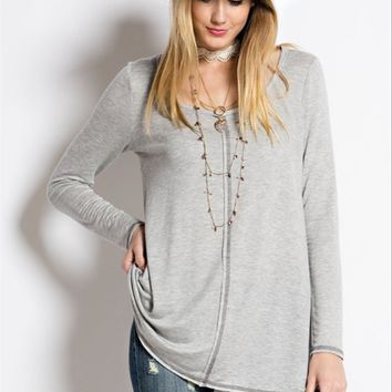 Stitched Detail French Terry Tunic Top