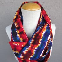Bright Multicolor Infinity Scarf - Tie Dye Print Scarf - Red and Blue Circle Scarf