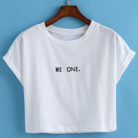White Me One. Print Short Sleeve Cropped T-shirt
