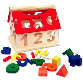 Kid Wooden Digital Number House Building Block Educational Intellectual Toy = 1946292100