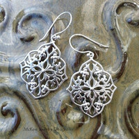 Cross Engraved Matte silver Arabic Sterling silver earrings.