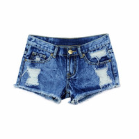New Spring Fashion Shorts Women Denim Female Shorts Solid Blue Short Jeans Hole Style Shorts