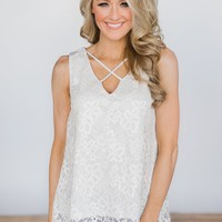 Last to Leave Ivory Lace Tank Top