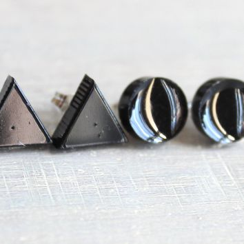 Mix and match, circle and triangle earrings - available in multiple colors