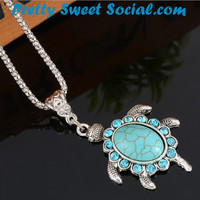 Boho Turquoise Rhinestone Turtle Necklace