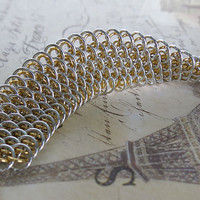 Dragonscale Chainmaille Bracelet - Silver and Gold - Chainmaille Cuff Bracelet