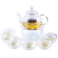 ONETOW Heat Resistant Clear Glass Tea Pot Set Infuser Teapot+Warmer+6 Cup 1000ML