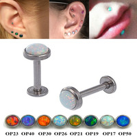 Showlove-1Pc 16g Surgical Steel Opal Gem Labret Lip Rings Ear Helix Tragus Cartilage Studs Piercing Body Jewelry