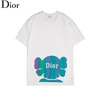 DIOR New fashion reflective letter couple top t-shirt White