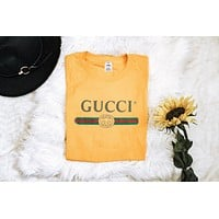 """Gucci""Hot Sale Stylish Women Men Round Collar Print T-Shirt Top Blouse Yellow I/A"