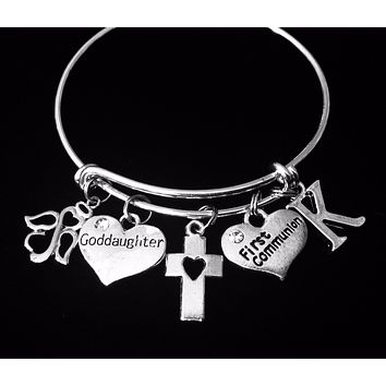 Goddaughter First Communion Gift Expandable Charm Bracelet Adjustable Wire Bangle One Size Fits All