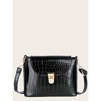 Croc Embossed Push Lock Crossbody Bag