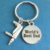 World's Best Dad, Gun, Silver, Keyring, Gift, Jewelry, Accessory