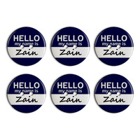 Zain Hello My Name Is Plastic Resin Button Set of 6