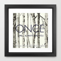 Once Upon a Time 8x8 Square Pop Art Print Wall Home Decor TV Pop Culture Fairy Tale Mythical Birch Trees Navy Blue Magic Love Romantic Grey
