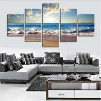 (No Frame)5 Piece The Sea Beach Modern Home Wall Decor Canvas Picture Art HD Print Painting On Canvas Artworks.