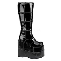 Demonia Wet Black Space Platform Boots