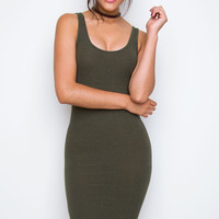 Cleo Nina Ribbed Dress - Dark Olive