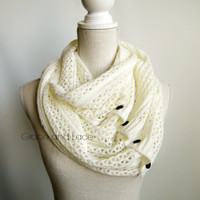 Nellie Knit Scarf - OFFWHITE - open weave knit scarf with button closure infinity scarf - chunky scarf - knit infinity scarf - button scarf