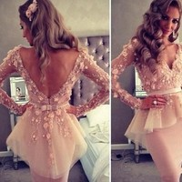 2014 Hot Selling Sexy Lace See Through Short Homecoming Dresses V Neck Full Sleeve Appliques Sheath Party Dresses Prom Dresses-in Homecoming Dresses from Apparel & Accessories on Aliexpress.com | Alibaba Group