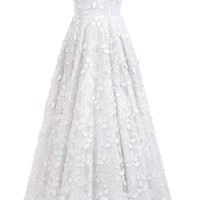 Sunvary Floor-Length Appliqued Wedding Dresses Butterfly Cut-Out V-Neck Lace Bridal Gown Custom Made