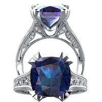 Alexandrite And Diamond Engagement Ring Fashion Ring 14K White Gold Wedding Ring Diamond Cushion Cut 4.69CT Alexandrite SW2A14W