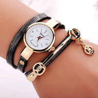 77 Fashion New Arrive Summer Style PU Leather Bracelet Watches Wristwatch Women Dress Watches Relogios Femininos Watch  XR1297