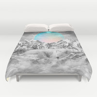 Put Your Thoughts To Sleep (Winter Moon / Wolf Spirit) Duvet Cover by Soaring Anchor Designs