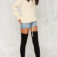 Mine or Yours Lace-Up Sweater - Beige