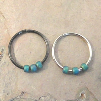 Turquoise Green Beaded Cartilage Hoop Earring Septum Tragus Nose Ring Upper Ear Piercing 20 Gauge