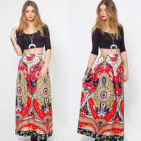 Vintage 70s PSYCHEDELIC Maxi Skirt Bright Oversized Floral Print GYPSY Skirt Scarf Print Boho Chic Hippie Skirt