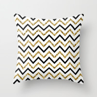 black and gold Throw Pillow by Pink Berry Patterns