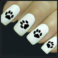 Dog Paw Nail Decal 20 Water Slide Decals Fingernail Decals Nail Tattoos Nail Transfers