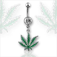 Pot Leaf Belly Button Navel Ring With Clear CZ Gem Green Weed