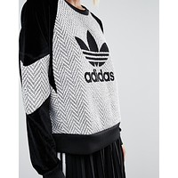 adidas Originals Wool Contrast Panel Sweatshirt With Trefoil Logo