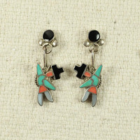 Native American Zuni Kinfewing  Earrings
