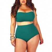 """Sao Paulo"" High-Waisted Plus Size Bikini Top with Underwire - Jade - Sale - Monif C"