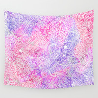 Pink Purple Paisley Love Wall Tapestry by Girly Trend