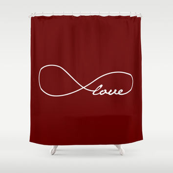 Red Love Infinity Shower Curtain by Enduring Moments