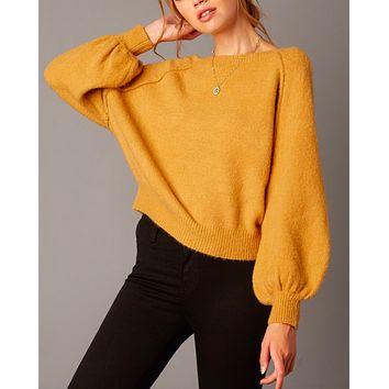 Cotton Candy LA - Bishop Sleeves and Ribbed Hem Fuzzy Knit Sweater in Honey