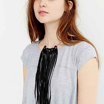 JAKIMAC X UO Studded Leather Fringe Choker Necklace- Black One
