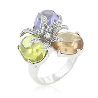 Triple Bead Floral Ring, size : 06
