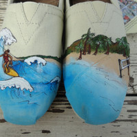 Custom hand painted TOMS: Surfing and Volleyball, I LOVE the BEACH