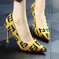 FENDI Hot Sale Women Sexy High Heels Shoes Yellow