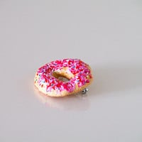 Donut jewelry handmade brooch - Food pin - Pastel pink yummy art - Woman accessories - Ready to ship