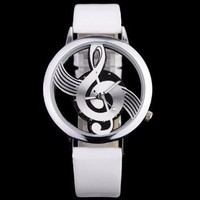 Musical Note Dial Quartz Movement Watch with Leather Band: Sports & Outdoors from BNM CORP