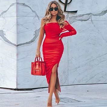 Red One Sleeve Ruched Slit Bodycon Dress