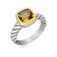 18K Yellow Gold and Sterling Silver Ring with Cushion Citrine and Cable Shank: Size 7