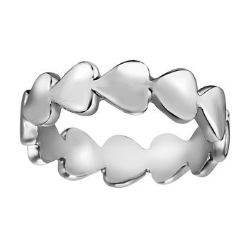 Sterling Silver Eternity Heart Band Ring, Size 7