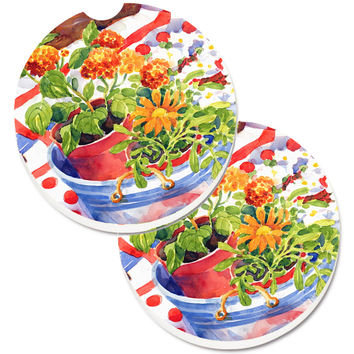 Flowers with a side of lemons Set of 2 Cup Holder Car Coasters 6058CARC
